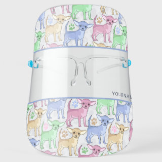Chihuahua Lover Colorful Pattern Personalize Face Shield