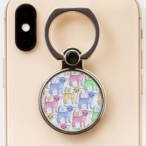 Chihuahua Lover Colorful Pattern Phone Ring Stand