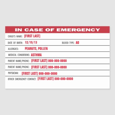 Child Emergency Information Sticker