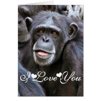 Chimpanzee Photo Image I Love You Greeting Cards