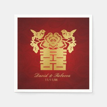 Chinese Love Birds Double Happiness Symbol Paper Napkins