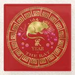 Chinese Zodiac Rat Red/Gold ID542 Glass Coaster