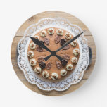 Chocolate cream pie on rustic wood cake top round clocks