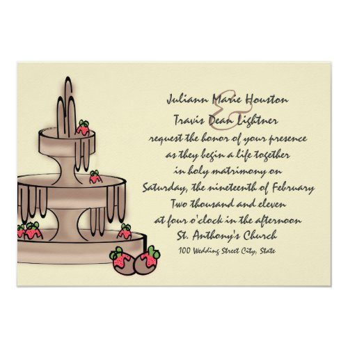 Chocolate Fountain and Strawberries Card