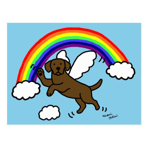 Chocolate Labrador Guardian Angel (Rainbow Bridge) Postcard