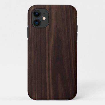 Chocolate Mahogany Dark Wood Grain Texture iPhone 11 Case