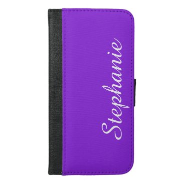 CHOOSE YOUR COLOR or Purple with White Script Name iPhone 6/6s Plus Wallet Case