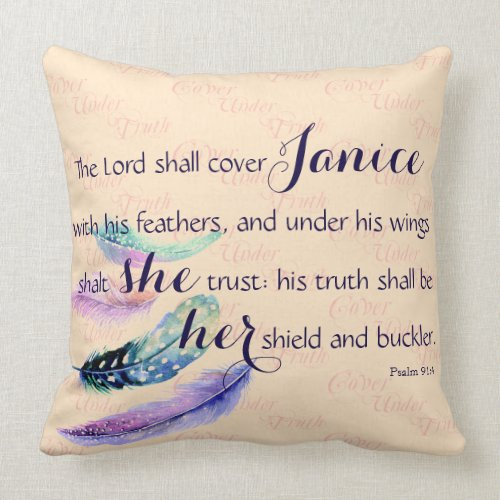 Christian LORD COVER THEE Personalized Prayer Throw Pillow