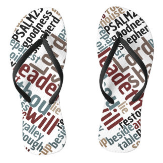 Christian PSALM 23 Colorful Word Art Flip Flops