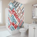 Christian Psalm 23 Colorful Word Art Shower Curtain
