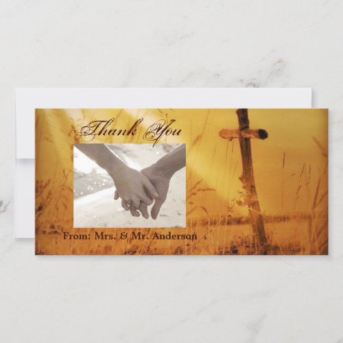 Christian vintage country cross wedding thank you card