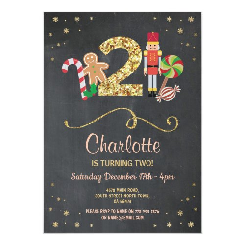 Christmas 2nd Two Birthday Holidays Chalk Invite