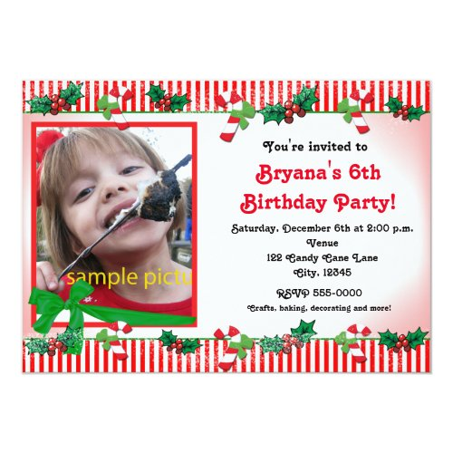 Christmas Candy Cane Custom Photo Party Invitation