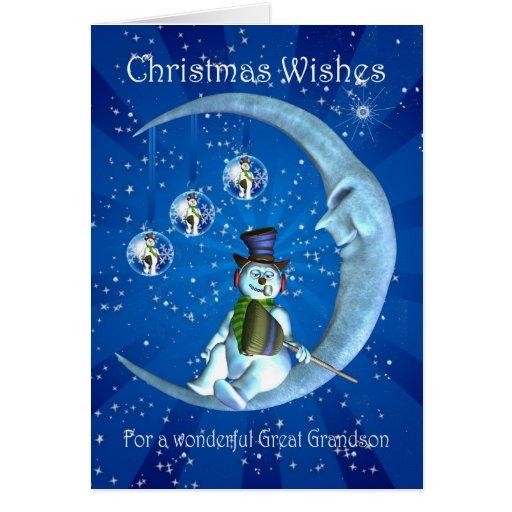 Christmas Card Great Grandson Christmas Snowman Card