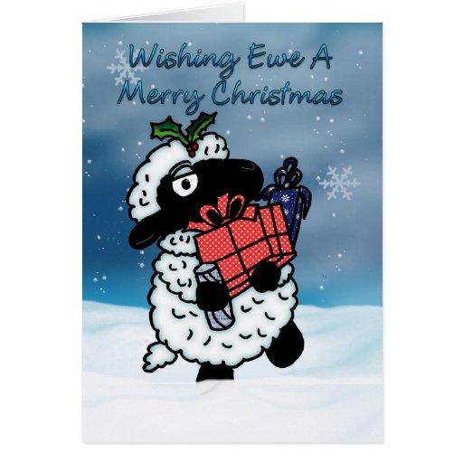 Christmas Card With Sheep Wishing Ewe A Merry Ch Zazzle