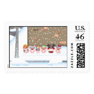 Christmas Carol Cartoon Pigs postage stamp stamp