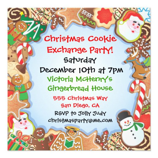 Christmas Cookie Exchange Party Invitation 525 Square