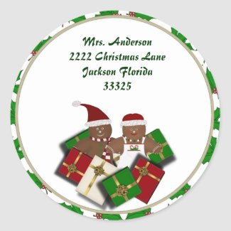 Christmas Gingerbread Couple Address Stickers