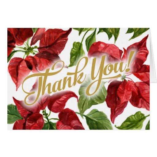 Christmas Holiday Poinsettias Thank You Card Zazzle