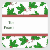 Christmas Holly Gift Stickers