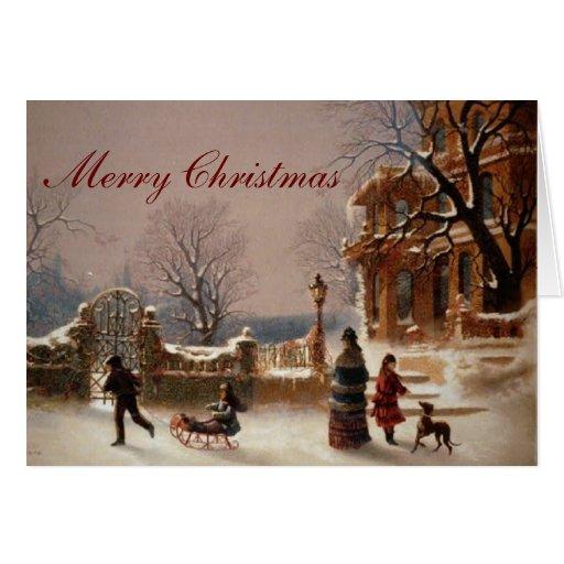 Christmas Morning Snow Vintage Card Zazzle