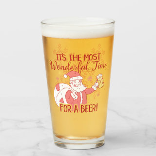 Christmas Most Wonderful Time for a Beer Santa Glass