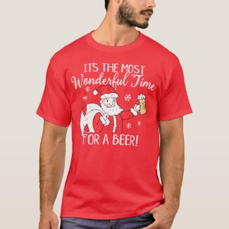 Christmas Most Wonderful Time for a Beer Santa T-Shirt