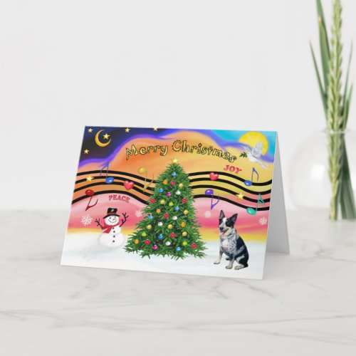 Christmas Music 2 - Australian Cattle Dog 1 Holiday Card