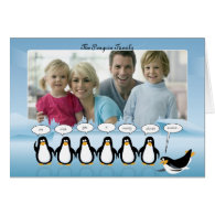 Christmas & New Year Photo Card with Penguins