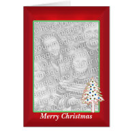 Christmas on Red (tall photo frame) Greeting Cards