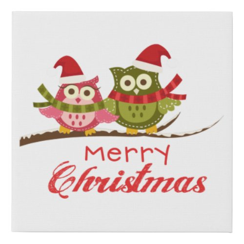 Christmas Owl Faux Canvas Print