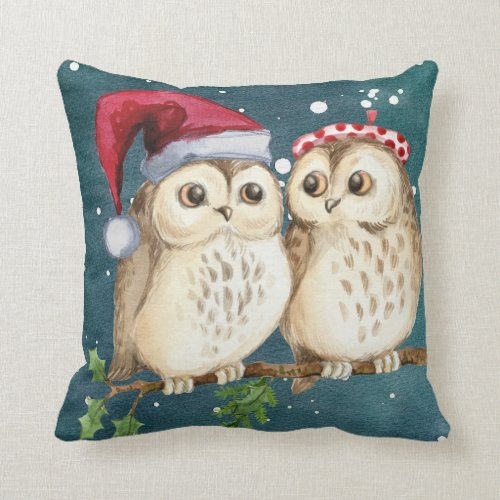 Christmas Owl in Santa Hat Cute Holiday Accent Throw Pillow