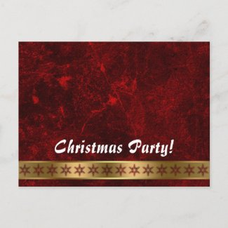 Christmas party invitation - gold star border post card