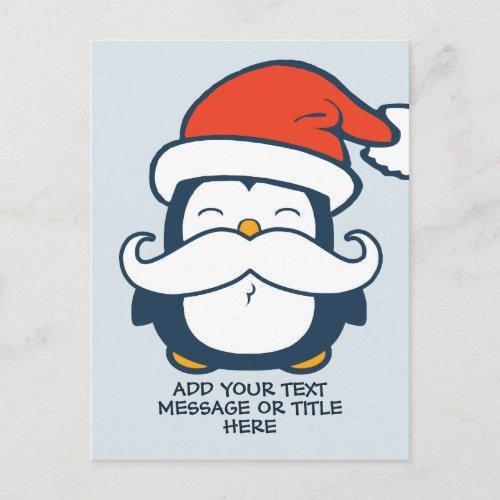 Christmas Penguin Mustache Add Your Text | Blue Postcard