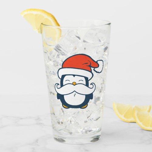 Christmas Penguin Mustache Trend Glass