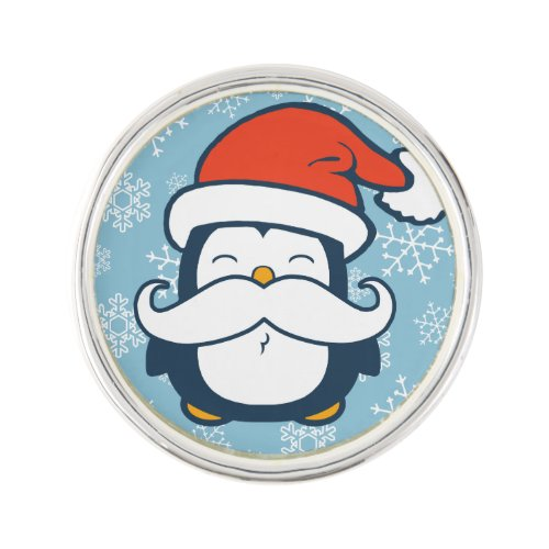 Christmas Penguin Mustache Trend Lapel Pin