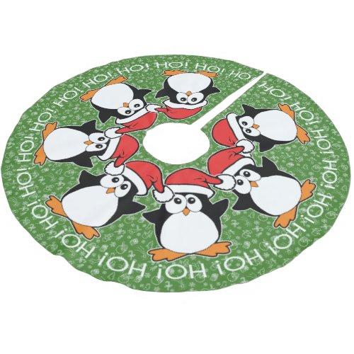 Christmas Penguins Ho! HO! Ho! Brushed Polyester Tree Skirt