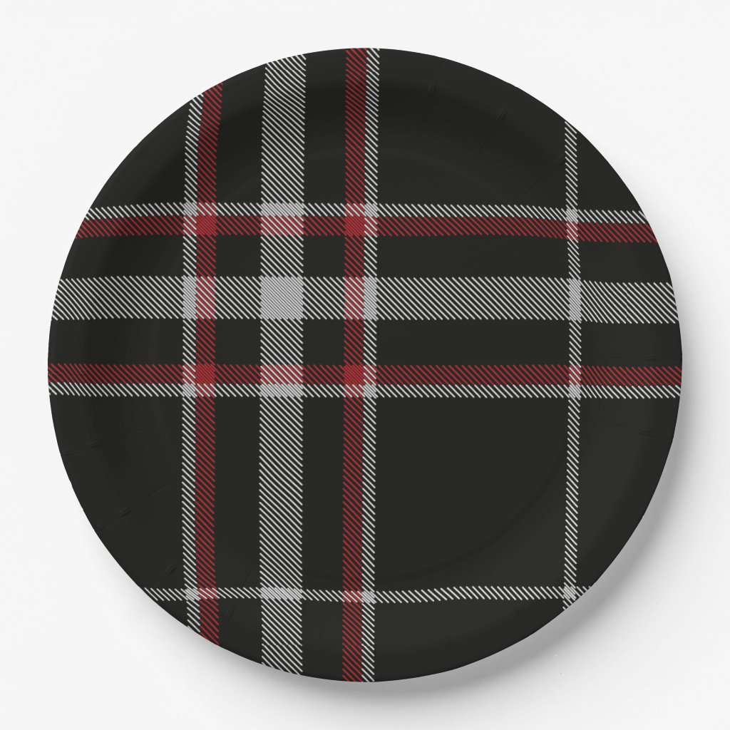 Christmas Plaid Black, Red, and White Pattern Paper Plate