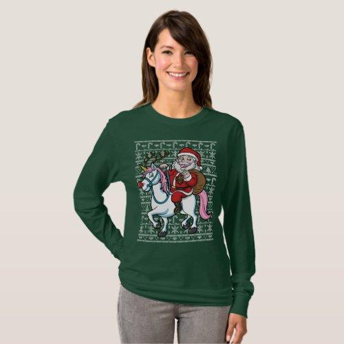 Christmas Santa Clause Riding Unicorn T-Shirt