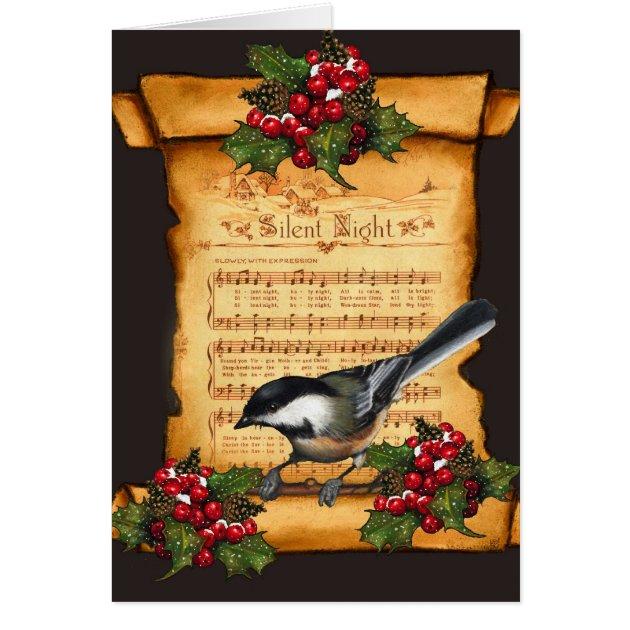 Christmas Silent Night Sheet Music Scroll Bird Card