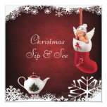 Christmas Sip & See Baby & Teapot Baby Shower Invitation