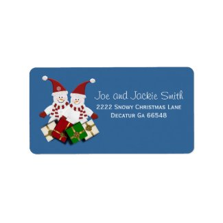 Christmas Snowman Address Labels