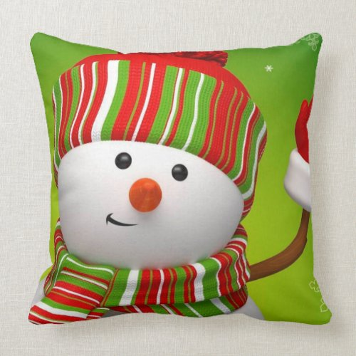 Christmas Throw Pillow/Snowman Throw Pillow