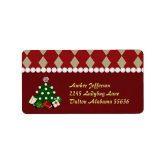 Christmas Tree Address Stickers Custom Address Label