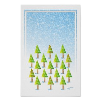 Christmas tree forest poster print