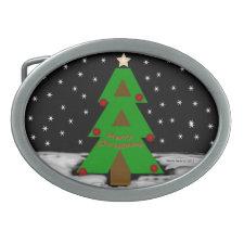 Christmas Tree Night Belt Buckle