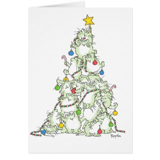 CHRISTMAS TREE OF KITTIES Card By Sandra Boynton Zazzle