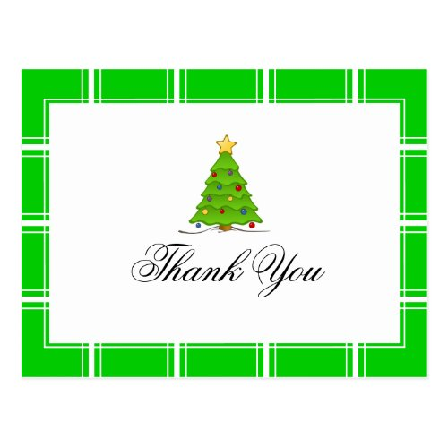 Christmas Tree Thank You Green Postcard