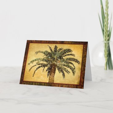Christmas Vintage Tropical Palm Tree w Snowflakes Holiday Card