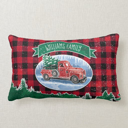 Christmas Vintage Truck Add Name Lumbar Pillow